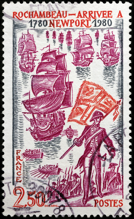 expeditionary: LUGA, RUSSIA - FEBRUARY 7, 2017: A stamp printed by FRANCE shows Landing of a French auxiliary army in Newport, Rhode Island on 11 July 1780 under the command of Rochambeau, circa 1980.