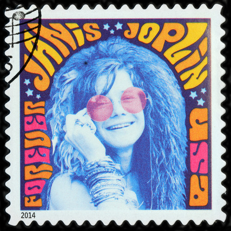 lyn: LUGA, RUSSIA - APRIL 26, 2017: A stamp printed by USA shows image portrait of Janis Lyn Joplin - famous American singer of the 1960s, circa 2014