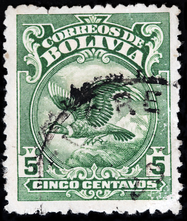 postmark: LUGA, RUSSIA - APRIL 26, 2017: A stamp printed by BOLIVIA shows Andean Condor -  a national symbol of Bolivia, circa 1928