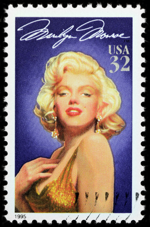 LUGA, RUSSIA - APRIL 26, 2017: A stamp printed by USA shows famous American actress Marilyn Monroe, circa 1995