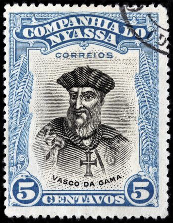 LUGA, RUSSIA - JUNE 25, 2016: A stamp printed by NYASSA shows image portrait of Vasco da Gama - Portuguese explorer and the first European to reach India by sea, circa 1921 Editorial