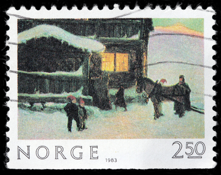 old envelope: LUGA, RUSSIA - AUGUST 20, 2017: A stamp printed by NORWAY shows painting The Guests Arrive by famous Norwegian painter Gustav Wentzel, circa 1983