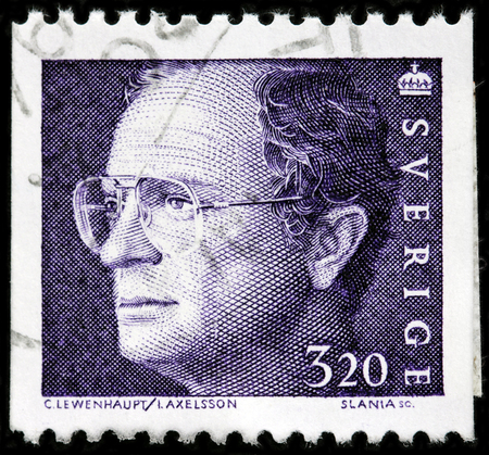 LUGA, RUSSIA - OCTOBER 6, 2017: A stamp printed by SWEDEN shows image portrait of Carl XVI Gustaf, King of Sweden, circa 1994 Editorial