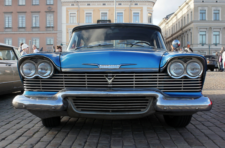 HELSINKI, FINLAND - AUGUST 7, 2017: Old American blue car at Helsinki Cruising Night (Retro Cars Show) on Kauppatori square, Helsinki, August 4, 2017