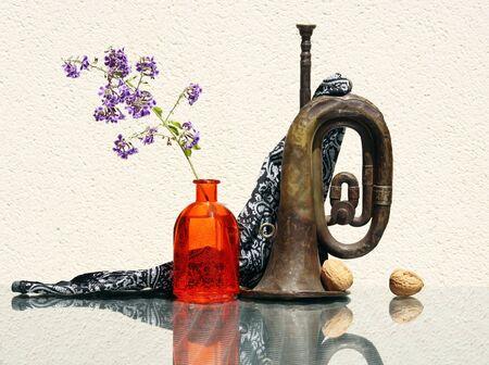 Naturaleza muerta con flor en botella de vidrio vintage, dos nueces enteras y vieja corneta oxidada contra un fondo de clave alta con reflejos asombrosos. Enfoque suave selectivo y espacio para su texto.