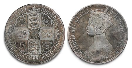 Copy of the British silver Crown coin of the reign of Queen Victoria minted in 1847, against a white background.