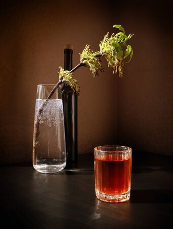 Still life with flowering spring twig of ash-tree with young leaves in a glass vase, black bottle and vintage small glass with fruit liqueur against a low key background. Selective and soft focus.  Standard-Bild