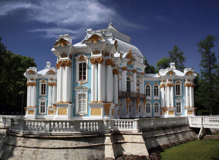 PUSHKIN, RUSSIA - JUNE 126, 2018: Beautiful view of the famous Hermitage pavilion in the Catherine Park at Tsarskoye Selo (Pushkin town) not far from Saint-Petersburg, June 26, 2018.