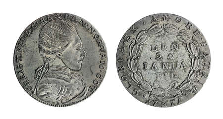 Copy of the Danish Krone silver coin of the Christian VII - King of Denmark and Norway. Coin minted in 1771, isolated on a white background.