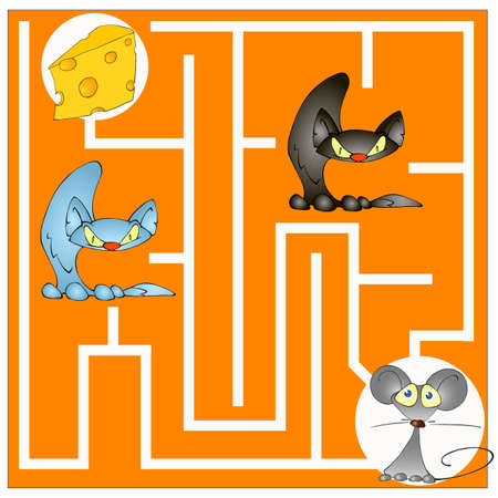 Childrens maze game as a mouse get the cheese photo