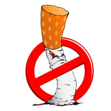 Illustratie van sigaretten en een teken verbiedt roken