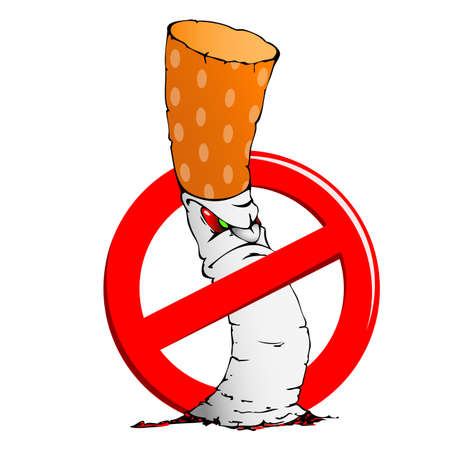 Illustration of cigarette and a sign prohibiting smoking illustration