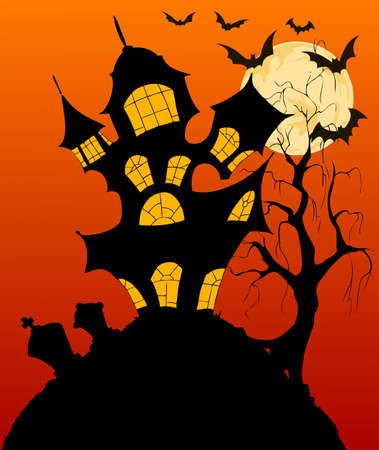 Spooky Halloween background with a haunted house Vector