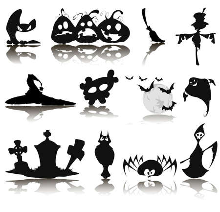 vlad: Set of twelve icons for Halloween on a white background