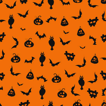 Seamless black and orange Halloween background with pumpkins and bats Vector