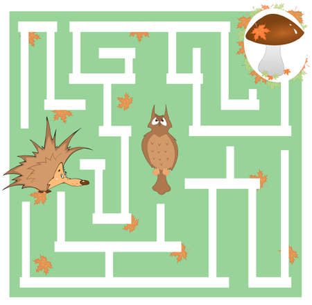 Maze game for kids - hedgehog and mushroom Illustration