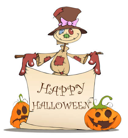 Funny scarecrow and pumpkins are invited to a Halloween Vector