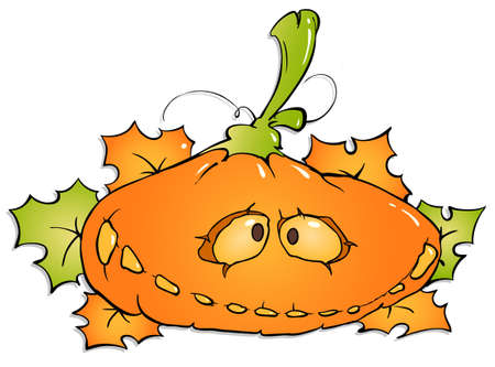 funny pumpkin and maple leaves on a white background Vector