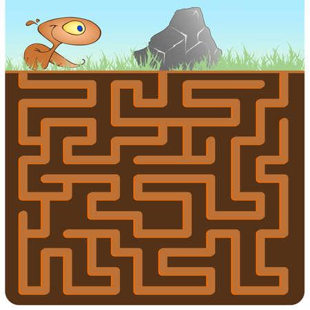 earthworm: Fun maze for kids! Help earthworm overcome stone