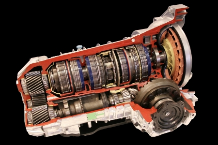 Automatic gearbox cross section on black