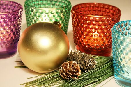 Colorful candle glases new year decoration Stock Photo - 16906031