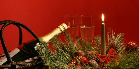 Celebration decorations with wine bottle photo
