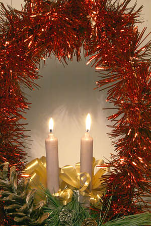 Two christmas candles Stock Photo - 16926001