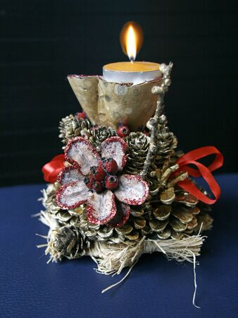 Table decoration of pinecone and gourd Stock Photo - 16925986
