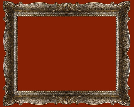 Gold antique, empty picture frame photo