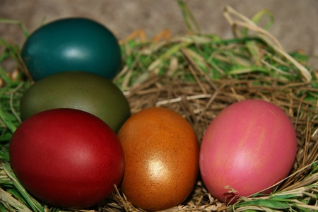 Full basket with easter eggs