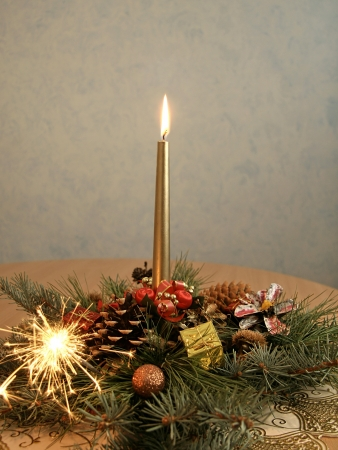 Christmas decoration with candle and sparks Stock Photo - 17104331