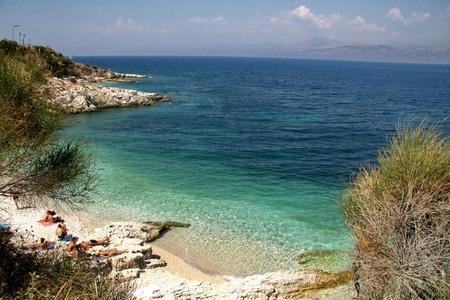 Seaside of Kanoni beach on Corfu island in Greece