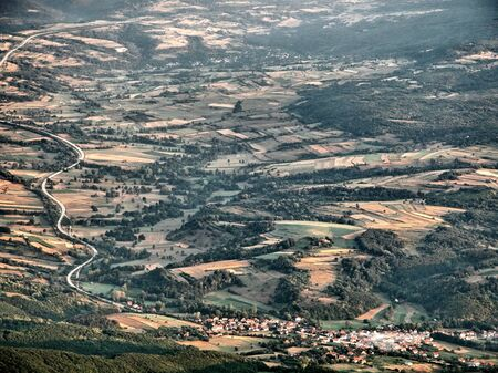 View on village and road from the high mountain  Nice landscape