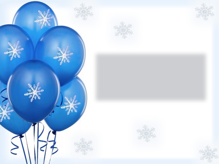 Blue baloons winter invitation card