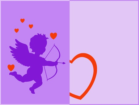 Cupidon silhouette with hearts and on purple photo