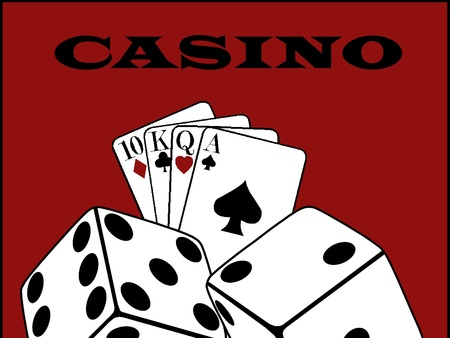 Casino dices and playing cards on royal red Stock Photo - 17244053