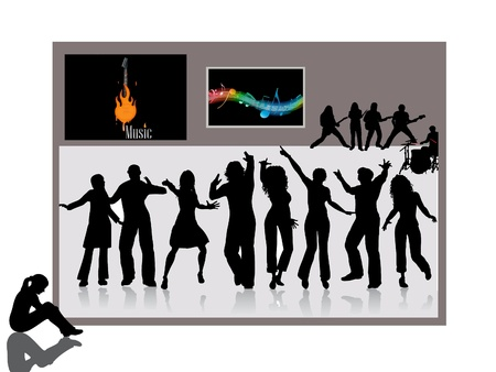 Sihlouette of dancing people with illustrations  illustration