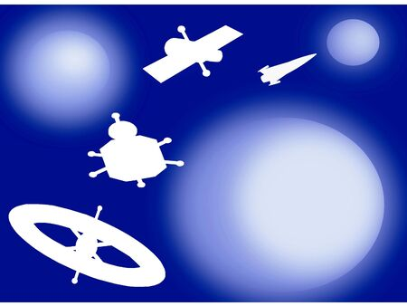 Space satellite shapes Stock Photo