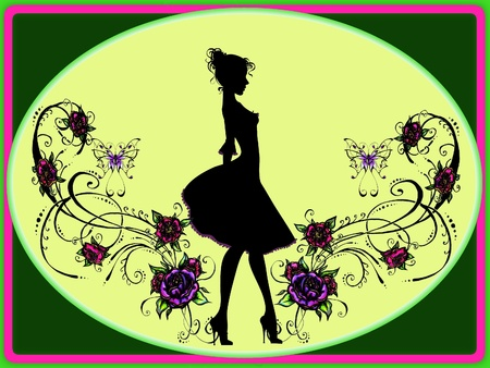 Illustrate of Mary Poppins  Graceful and elegant in roses vignette  Bacground and add note on card    photo
