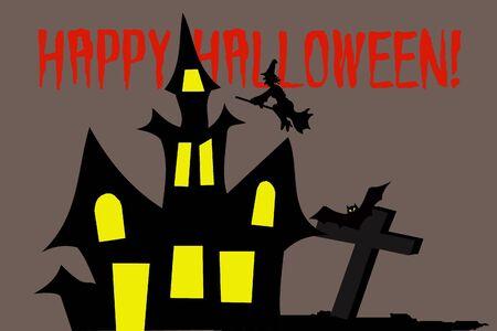 Halloween fright castle Stock Photo