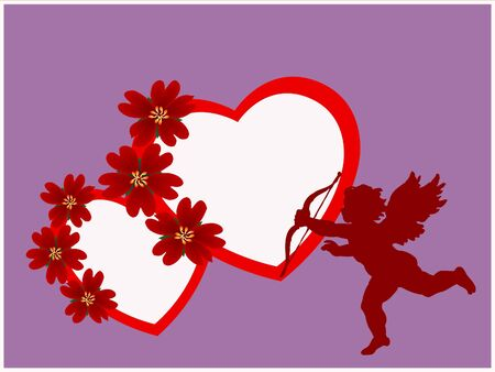 arow: Valentine s hearts and Cupidon silhouette on lilac background