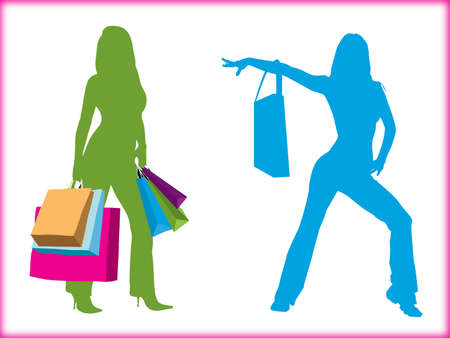 Shopping girls ,white background Stock Photo - 17374442