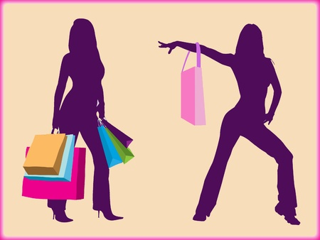 Shopping girls color silhouette