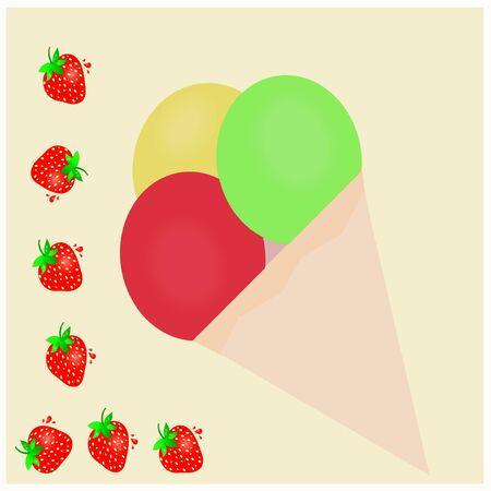 Ice cream - strawbrey photo