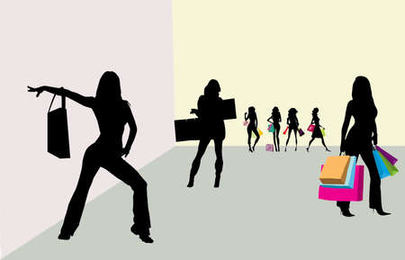 Shoping girls silhouette in the room Stock Photo - 17597259