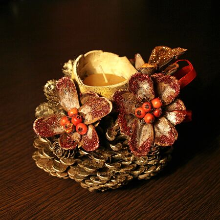 Table decoration of pinecone and gourd 2 photo