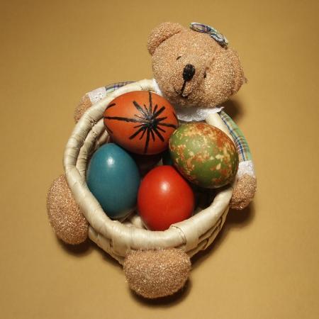 Easter eggs in bearhamper photo