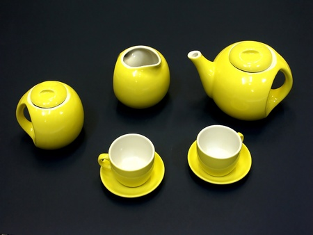 Yellow tea set