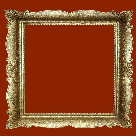 emphty: Empty picture frame on red Stock Photo