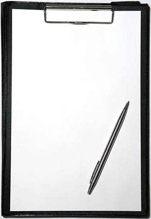 addressee: Clipboard on white with a pencil Stock Photo